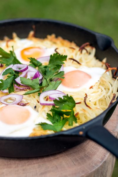 Posh potato and eggs hash