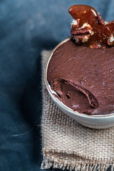CHOCOLATE AVOCADO PUDDING WITH PECAN BRITTLE